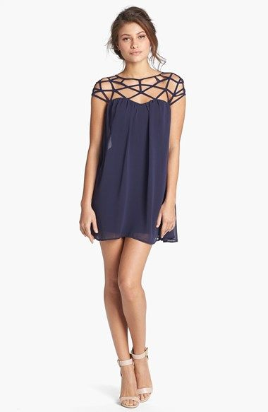 Free shipping and returns on Keepsake the Label 'Dare You' Slipdress at Nordstrom.com. A strappy yoke charts a skin-baring, geometric pattern atop a breezy georgette dress that floats into an ultra-short, A-line silhouette.