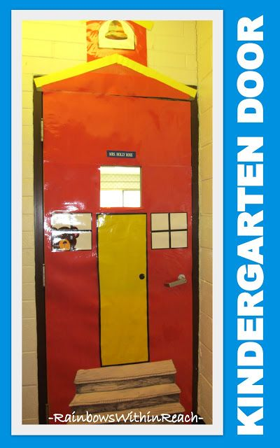 photo of: Classroom Door decorated as an old fashioned school, Kindergarten Door Deocration