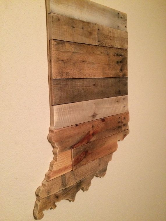 Indiana State Sign Reclaimed Wood Pallet Sign Home