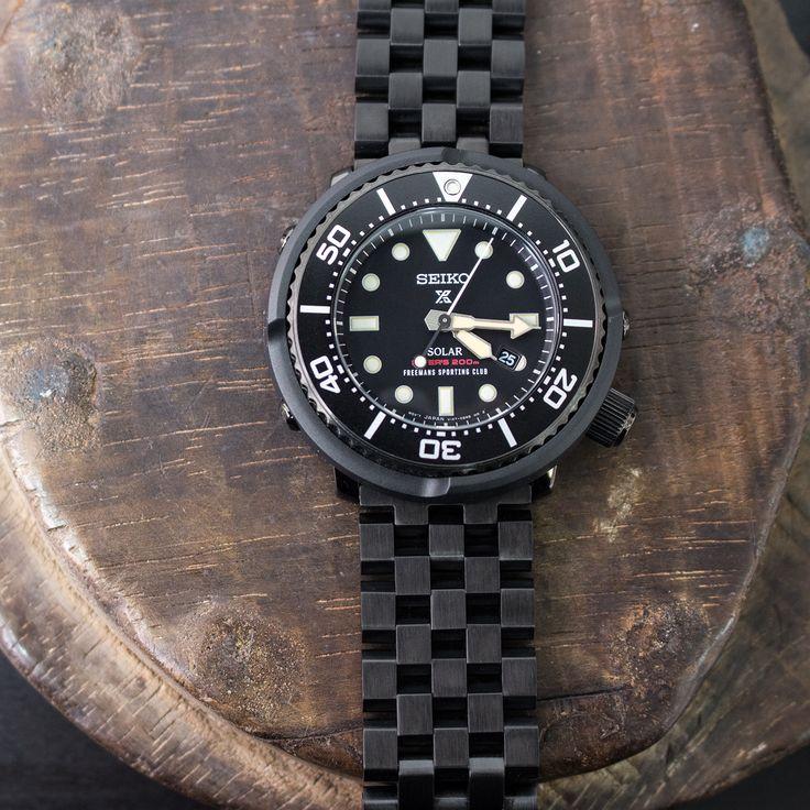 "The new model Seiko Solar Prospex Scuba Diver #SBDN029 ""Freemans Sporting Club"" on #MiLTAT 22mm Super Engineer II watch bracelet  #strapcode #freemanssportingclub"