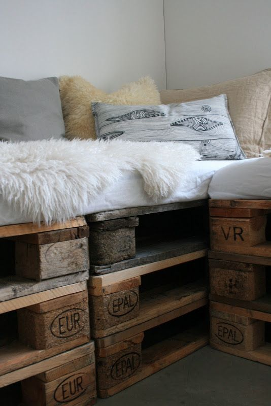 The pallet furniture is kind of neat, but this would be more practical with storage under the cushions or drawers