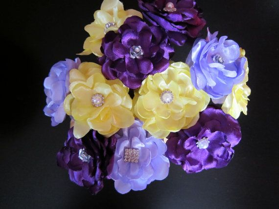Yellow and Purple Satin Fancy Flowers 10pcs  by RocheleauDesigns