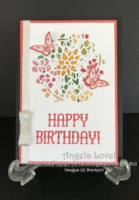 This birthday card was created using the Stampin' Up! Window Shopping stamp set and co-ordinating Window Box thinlits dies available from my online store:  http://www3.stampinup.com/ECWeb/default.aspx?dbwsdemoid=4011749  #angelaspaperarts  #stampinup