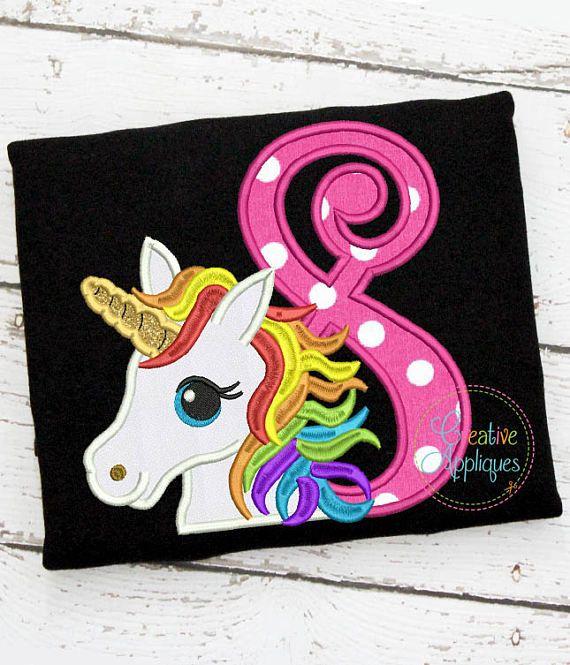 Arco iris unicornio cumpleaños 8 Digital máquina bordado