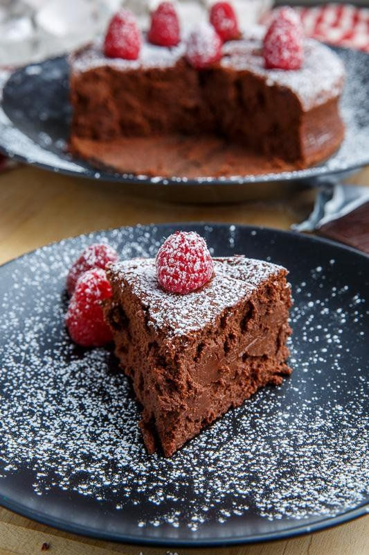 Dark Chocolate Souffle Cheesecake @FoodBlogs