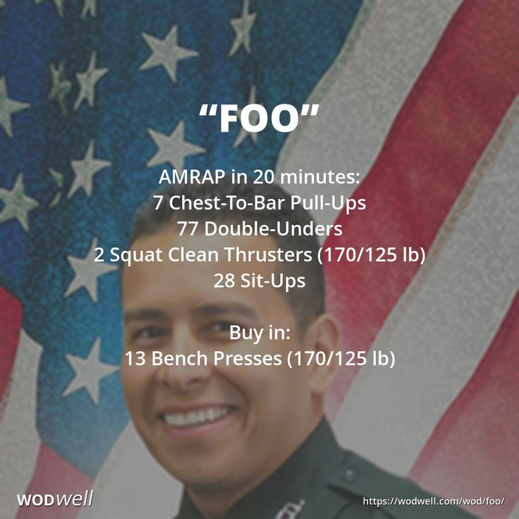 """FOO"" CrossFit Hero WOD: AMRAP in 20 minutes: 7 Chest-To-Bar Pull-Ups; 77 Double-Unders; 2 Squat Clean Thrusters (170/125 lb); 28 Sit-Ups. Buy in: 13 Bench Presses (170/125 lb)"