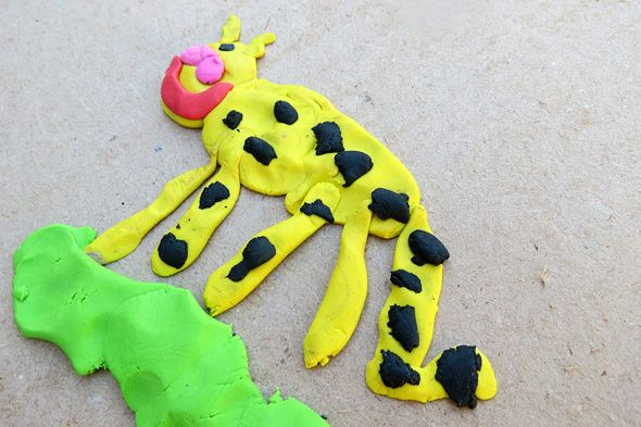 Painting with modeling clay--toddler friendly