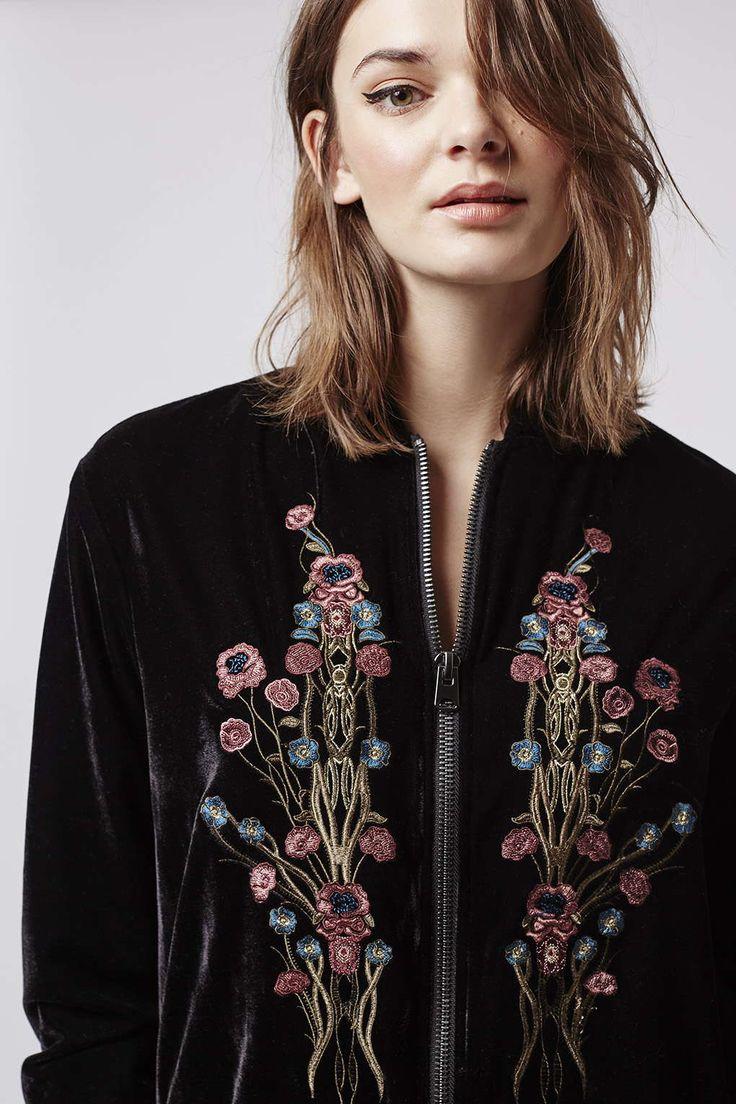 Velvet Embroidered Bomber Jacket - Topshop