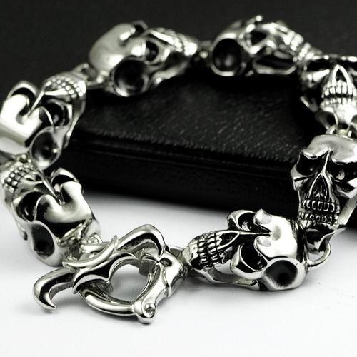 """7 2"""" 11 3"""" 316L Stainless Steel Skull Men's Bracelet 4B005   eBay"""