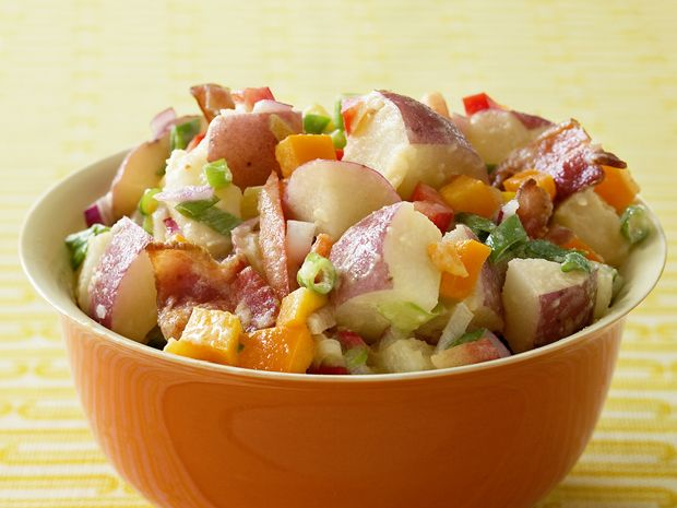 Red Potato Salad With Bacon from FoodNetwork.com (Don't judge that it's Paula Deen, never liked her, but I don't like mayo-heavy potato salad, and this fits the bill)