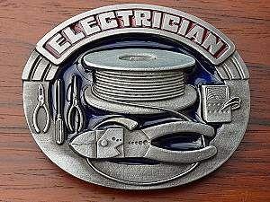 Elektriker - Gürtelschnallen Buckles orig. amerikanische und englische aus Zinnguss