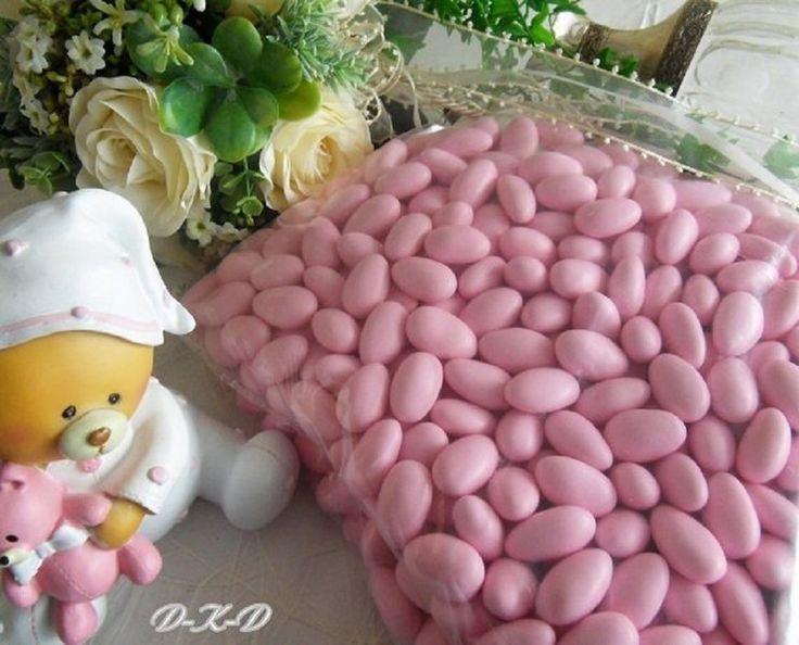 Gastgeschenke - 1Kg Taufmandeln Gastgeschenk Taufe Mandeln rosa - ein Designerstück von Familienfeste bei DaWanda