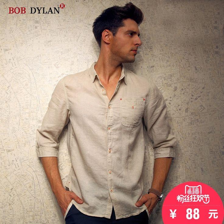 BOBDYLAN летняя рубашка хлопок Повседневная рубашка, обрезать рукава тонкий материал куртки мужчины