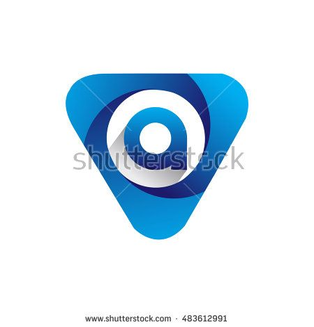Logo A letter blue colored in the triangle shape, Vector design template…
