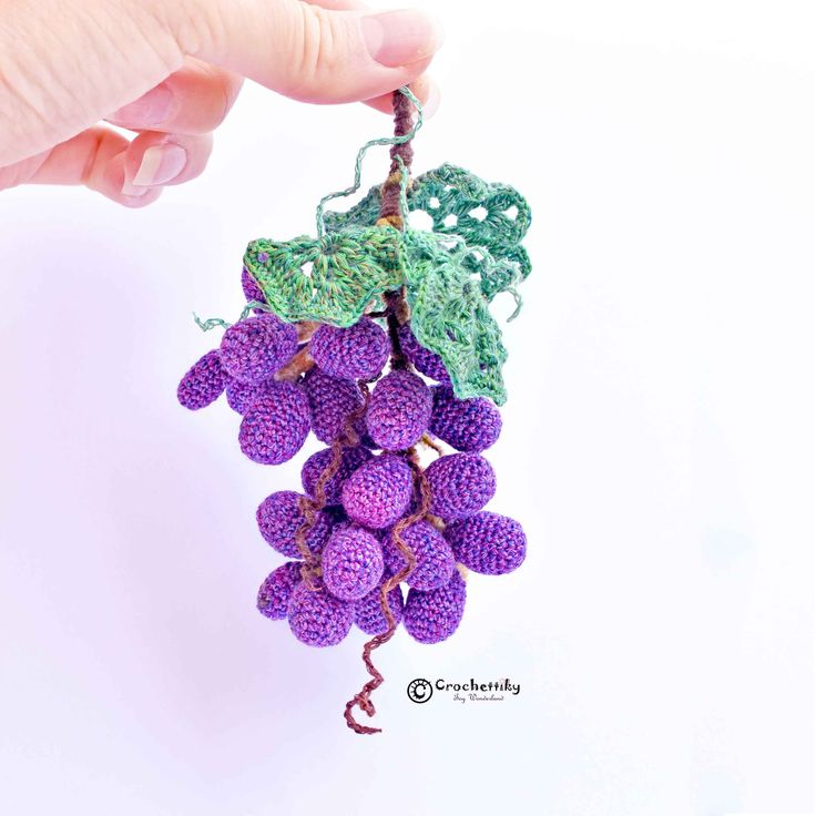 Decorative miniature 'Grapevine'. Can be transform into a brooch.  Grapevine  Yarn: cotton, chenille, sewing polyester.  Fill: non-allergenic, polyester fiberfill.  Size: approx 16 cm long.  Wire frame. $37  Shipping is available. Please contact Natali at crochettiky@gmail.com or visit http://crochettiky.com if you have any queries or would like a work commissioned.