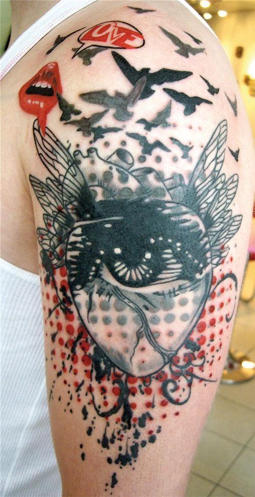 Heart/eye/bird tattoo