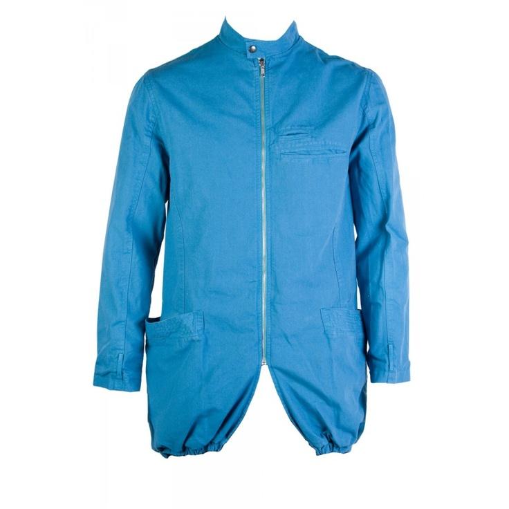 $559 bassike mens scoop back drill jacket / blue / s-l #superettegetthelook
