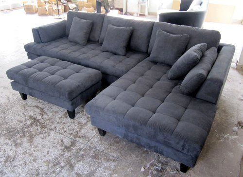 Best Amazon Com 3Pc New Modern Dark Grey Microfiber Sectional Sofa Chaise Ottoman Set S168Rdg 400 x 300