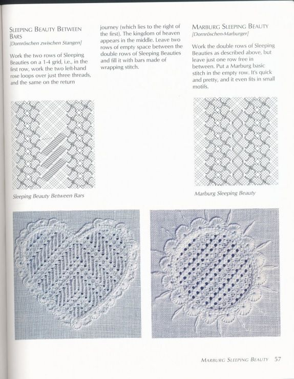 Drawn thread. Filling stitches.