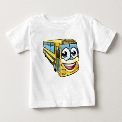 School Bus Cartoon Character Mascot Baby T-Shirt - kids kid child gift idea diy personalize design