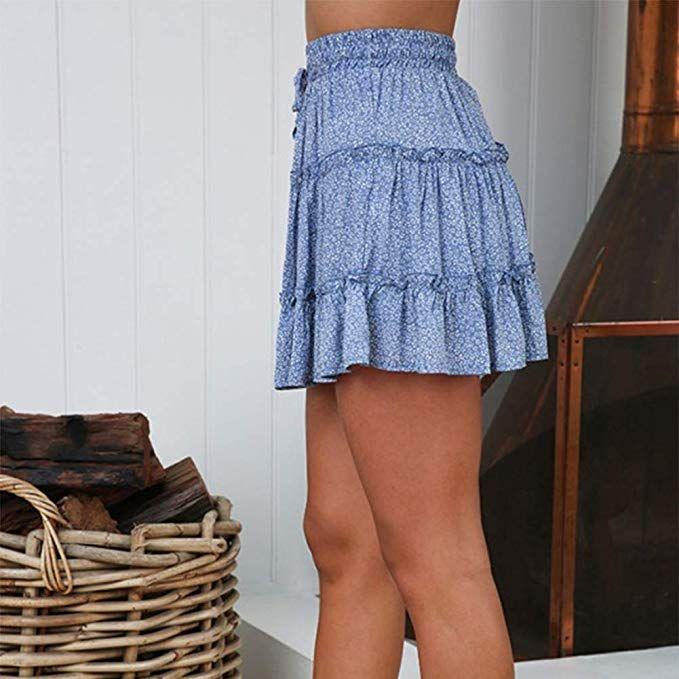 YNC Fashion Womens Summer Casual Polka Dot Flare Short Mini A Line Skirt