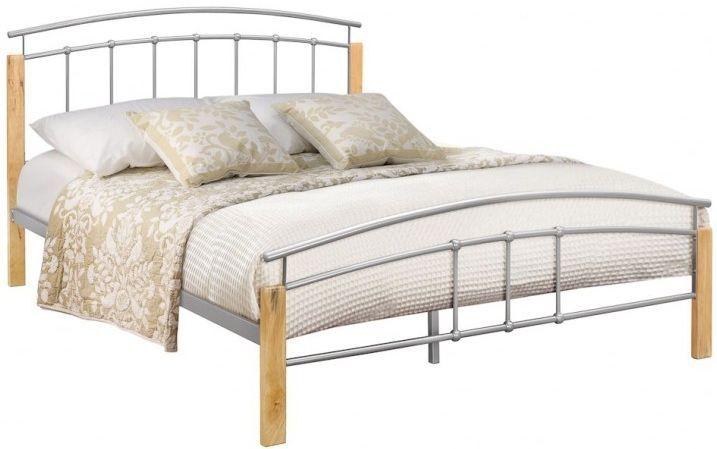Birlea Tetras Beech And Silver Metal Bed Bed Furniture Modern
