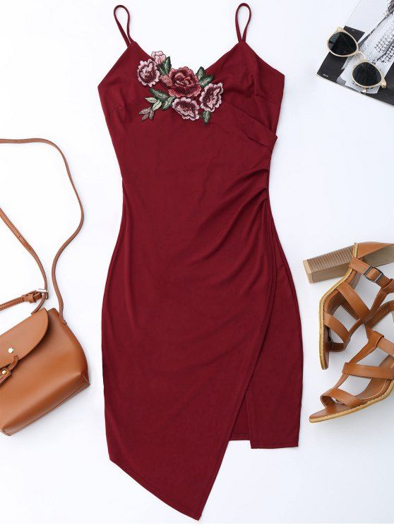 Floral Patched Asymmetrical Surplice Dress - WINE RED L Mobile