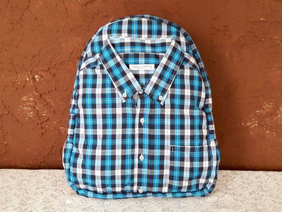 Blue backpack Backpacks for men Shirt backpack by YouNeedEco