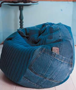 Free Bean Bag Knitting Pattern - unique bean bag that uses a pair of jeans for a patchwork style and some storage. Looks comfortable, I want to make this ASAP.