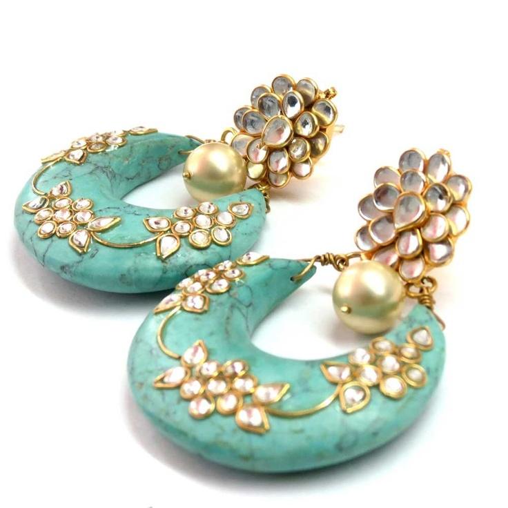 Turquoise earrings - Dangling Disc with Kundan work