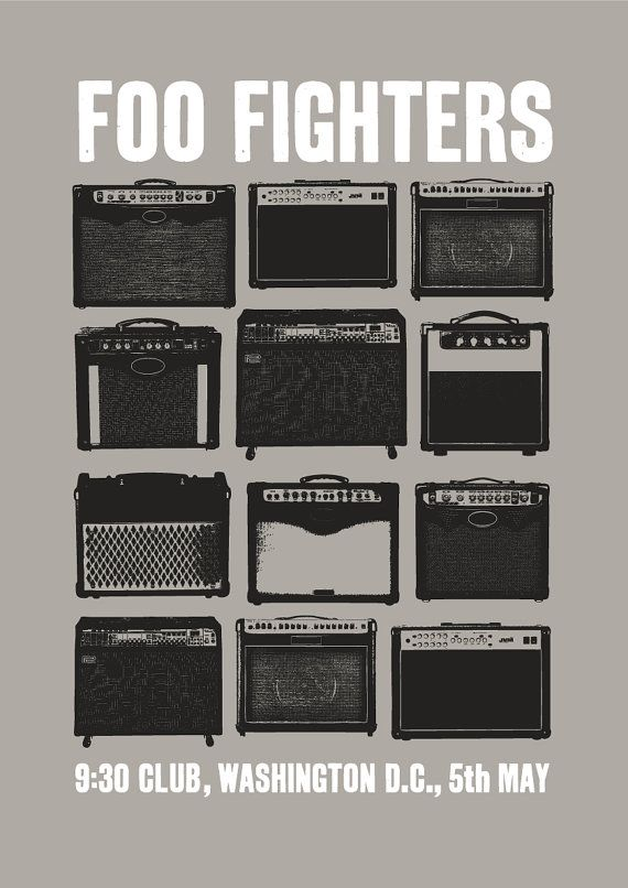 Foo Fighters concert poster art, Foo Fighters poster print, music inspired…
