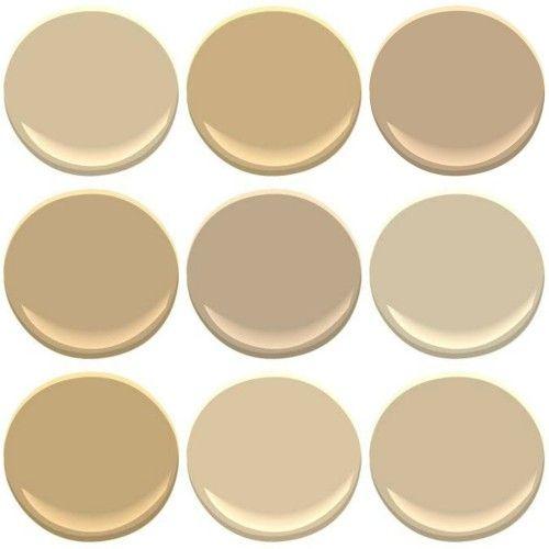Benjamin Moore Colors: From top Left - Blanched Almond, Bridgewater Tan,  Brookline Beige, Brunswick Beige, Hillsborough Beige, Shaker Beige...