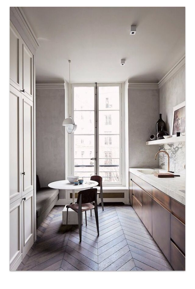 Kitchen with marble benches