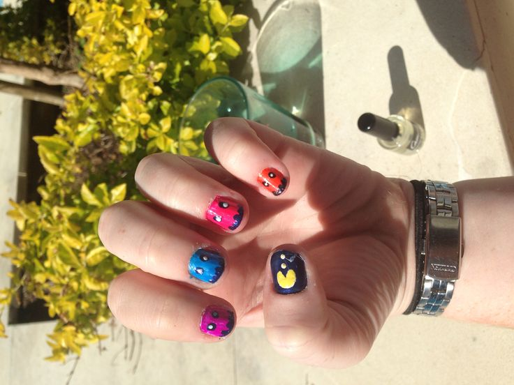 Pacman nails I did. Short nail art