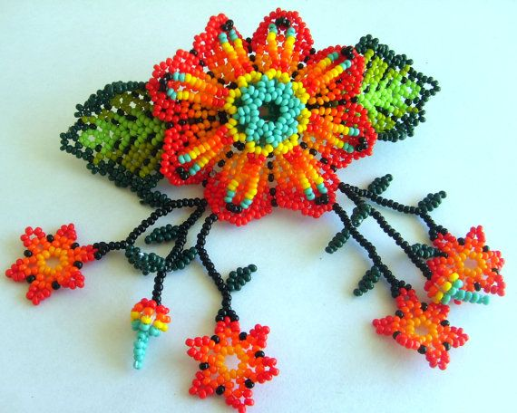 Mexican Huichol Beaded Flower Hair clip  #mexican #huichol #jewelry #beads