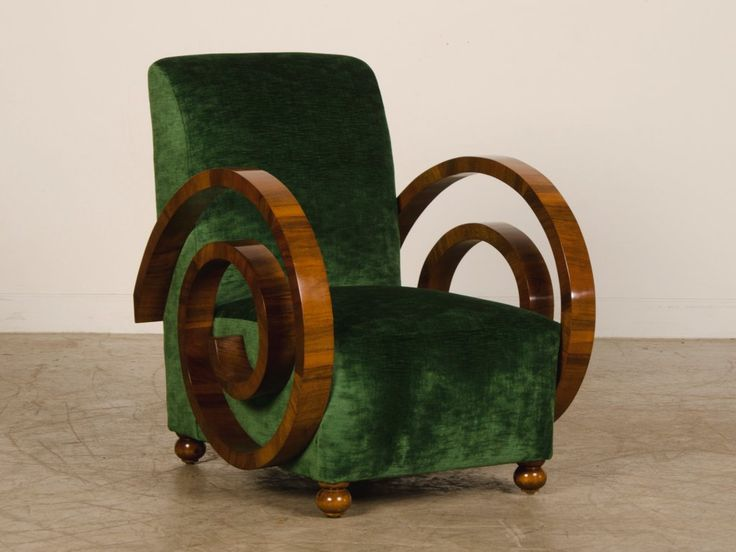 A pair of Art Deco period walnut armchairs from France c.1930 at 1stdibs