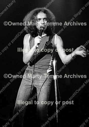 Photo of Lou Gramm of Foreigner performing onstage in Norman, Oklahoma in 1979 by Marty Temme