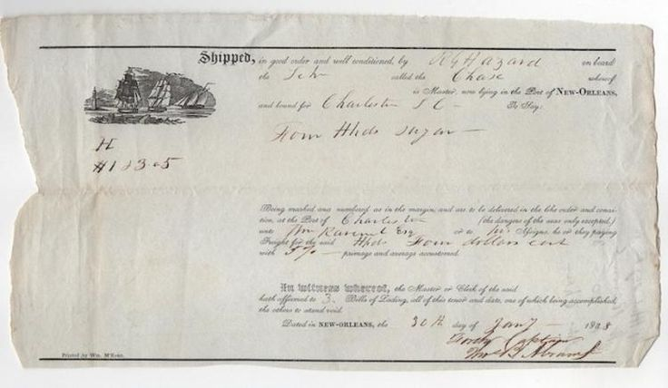 Early Shipping Bill of Lading from the Rowland G. Hazard, dated 1838 Port of New Orleans. Sugar shipped on the schooner called CHASE, being shipped from New Orleans to Charleston, South Carolina. Approx. 10 x 6 in. Roland Gibson Hazard (1801-1888) was a financier from Rhode Island who was early identified with the Free Soil and Anti-Slavery parties and was one of the founders of the Republican Party.