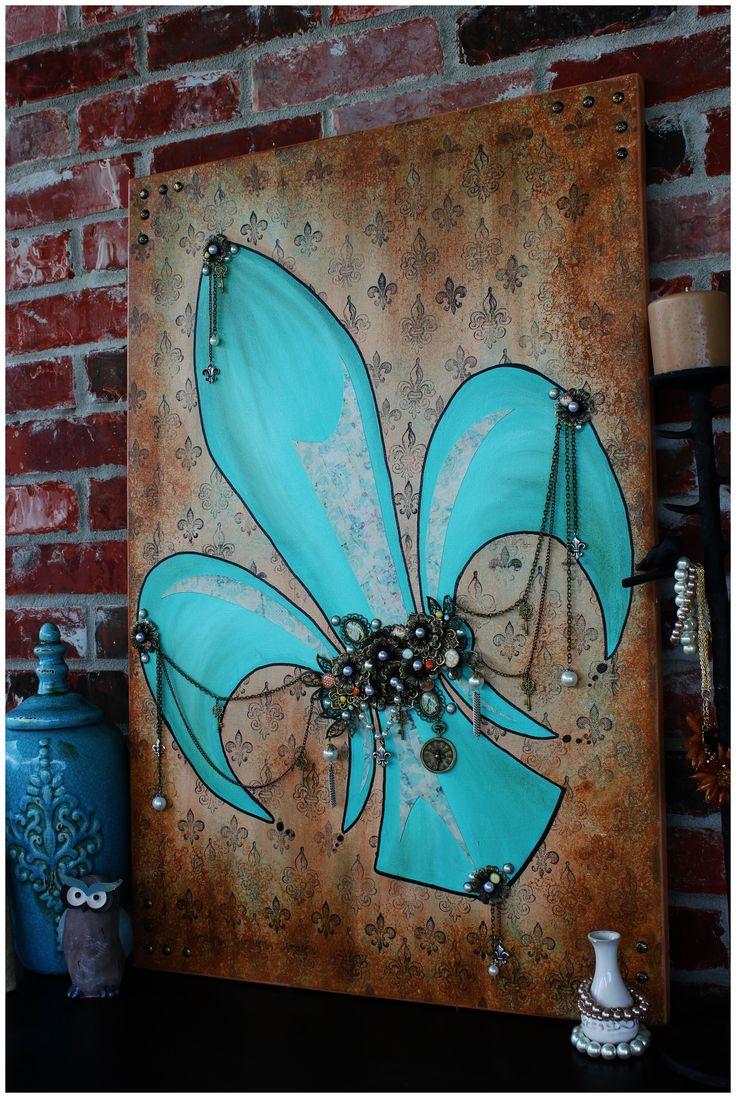 Mixed Media Art   Fleur De Lis Painting Angela Venable Art