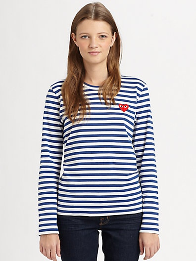 Comme des Garcons Play - Striped Emblem Tee - Saks.com