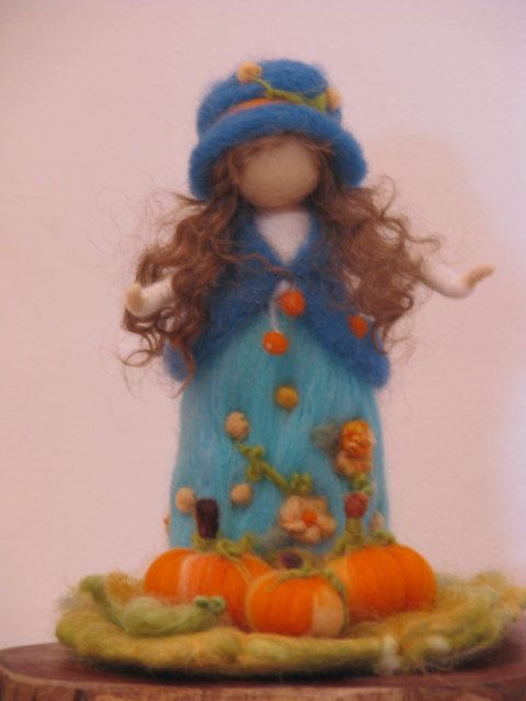 Needle felted girl with pumpkins by Zuzana Hochman of Made4uByMagic on Etsy