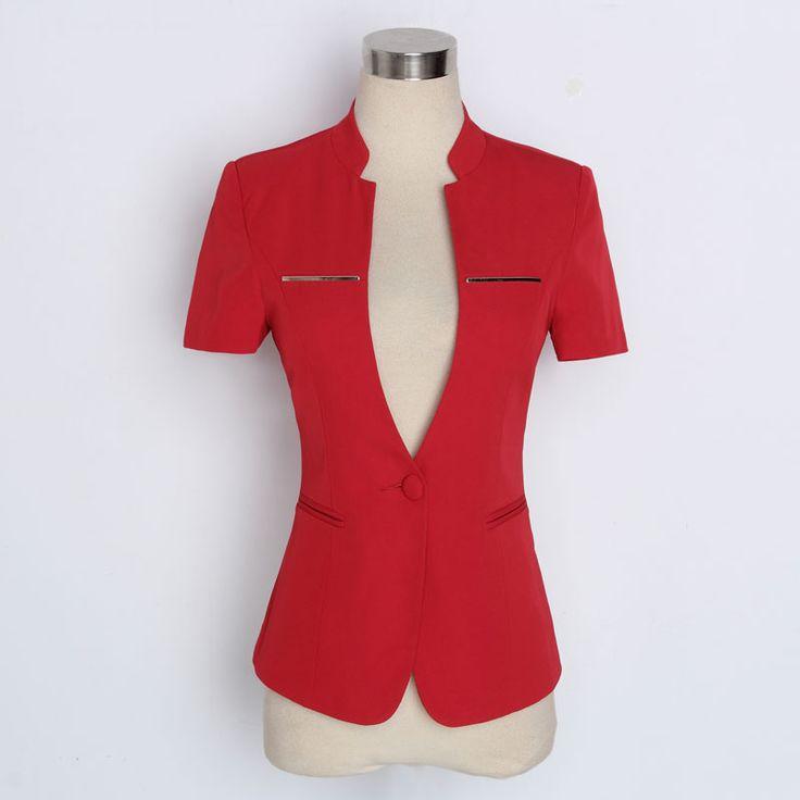 Novelty Red Summer Uniform Styles Short Sleeve Professional Business Women Blazers Ladies Jackets Tops Outwear Female Blaser