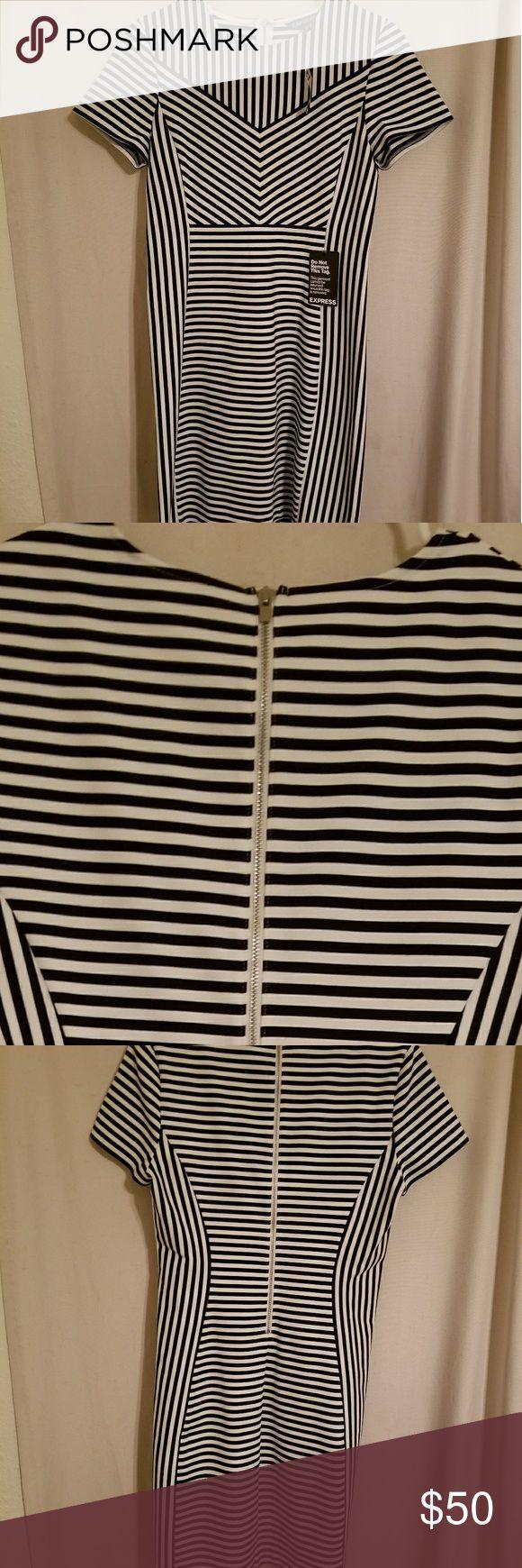 Striped mini dress Express brand striped mini dress, very form fitting mom dress Express Dresses Mini