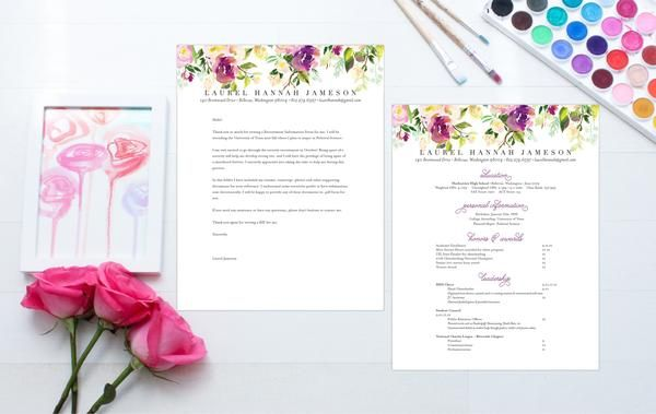 How to Format a Sorority Resume & Cover Letter (plus cute free fonts) – SororityPackets.com // Graceful Bouquet Sorority Packet