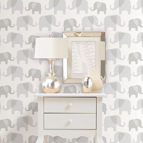 Grey Elephant Parade Peel And Stick Wallpaper Brewster Nuwallpaper 54 99 Grey Animals E Peel And Stick Wallpaper Elephant Wallpaper Wallpaper Roll