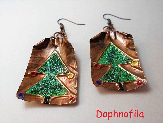 Christmas tree jewelry Ready for Cristmas Handmade earrings
