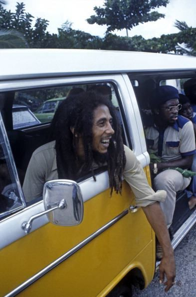 Bob Marley hanging out in his VW bus
