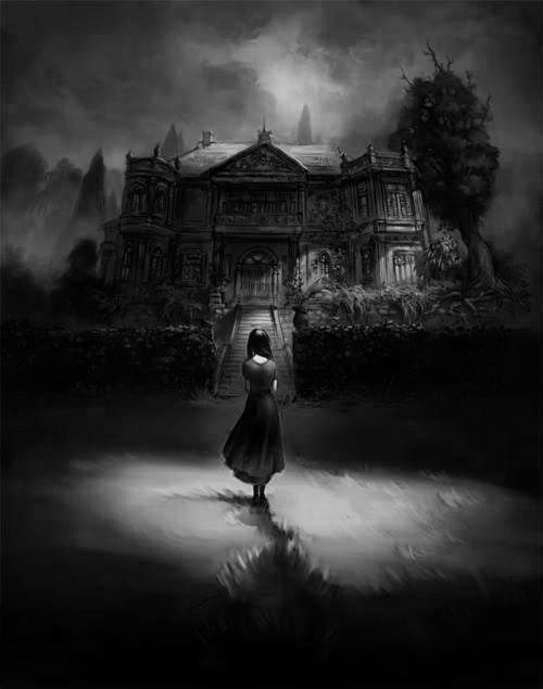 Black Mansion Night Dark Haunted Darkness Goth Ghost Woods Gothic