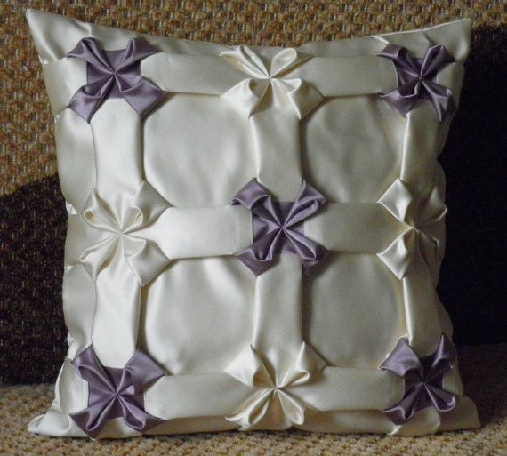 Silk White Floral Pillow Cover Cushion,Throw Pillow,Floral Pillow,White Pillow,Smocked Pillow,White Pillow Case,Room decor ideas 16x16 inch
