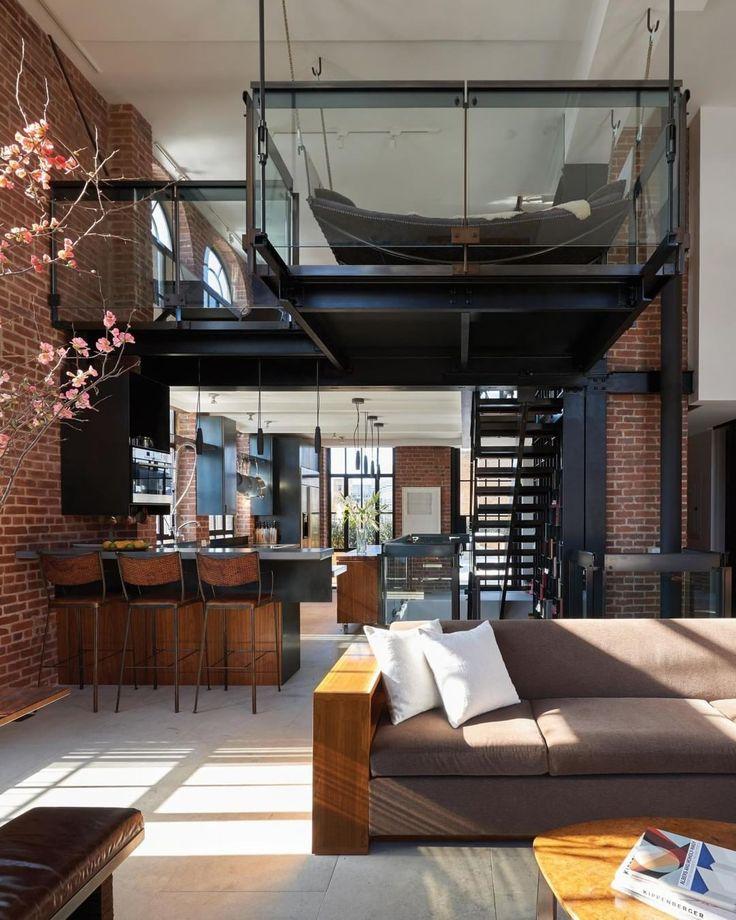 "22.8k Likes, 111 Comments - Architecture & Design Magazine (@d.signers) on Instagram: ""Love this loft! Perfect combination of textures!! Brick + Black Steel +Glass. Penthouse Loft…"""